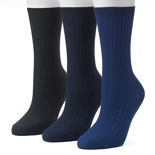 Women's SONOMA Goods for Life™ 3-pk. Marled Ribbed Crew Socks