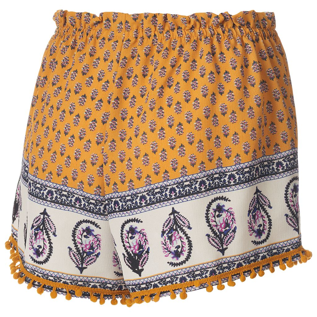 Juniors' About A Girl Print Pom-Pom Shortie Shorts