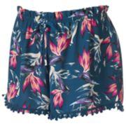 Juniors' About A Girl Print Pom-Pom Shortie Shorts