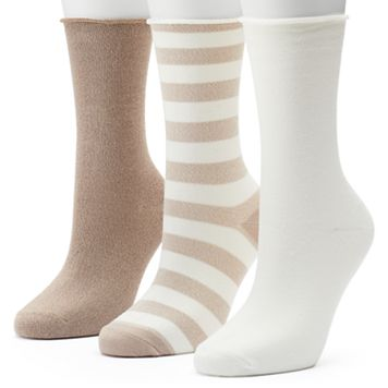 Women's SONOMA Goods for Life™ 3-pk. Rugby Dot Roll-Top Crew Socks