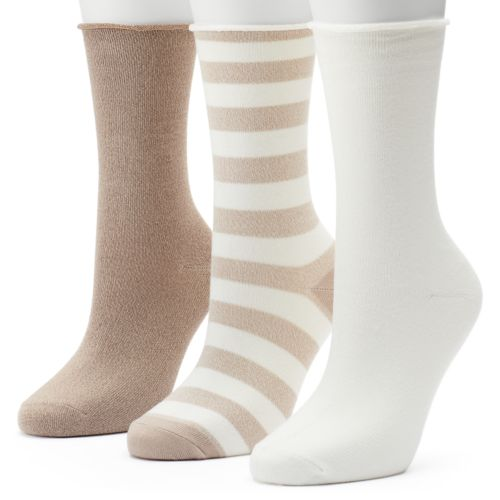 Women's SONOMA Goods for Life™ 3-pk. Rugby Dot Roll-Top Crew Socks