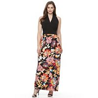 Plus Size Suite 7 Floral Shirred Maxi Dress