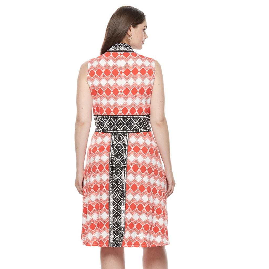 Plus Size Suite 7 Diamond Stripe Fit & Flare Dress