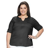 Plus Size Croft & Barrow® Pocket Roll-Tab Tee