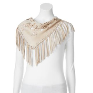 madden NYC Floral Laser Cut Faux-Suede Fringed Scarf