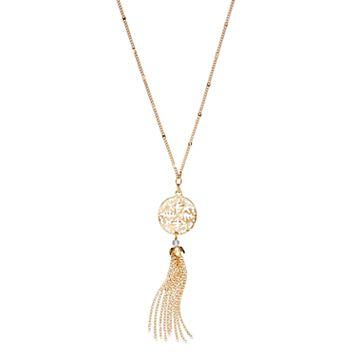 LC Lauren Conrad Long Tassel Openwork Disc Y Necklace
