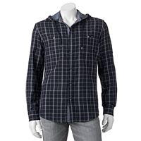 Big & Tall Rock & Republic Classic-Fit Plaid Roll-Tab Hooded Button-Down Shirt