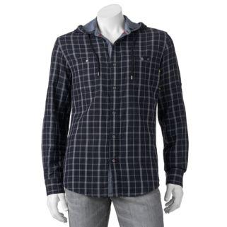 Big & Tall Rock & Republic Classic-Fit Plaid Roll-Tab Hooded Button-Down Shirt