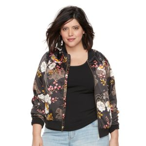 Plus Size Jennifer Lopez Floral Bomber Jacket