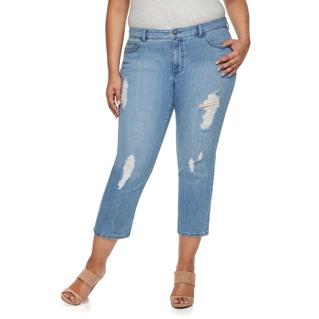 Plus Size Jennifer Lopez Destructed Capri Jeans