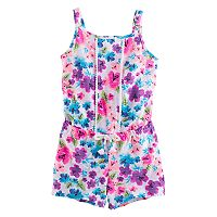 Girls 4-10 Jumping Beans® Print Pom-Trim Romper