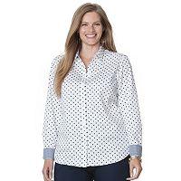 Plus Size Chaps Printed No-Iron Sateen Shirt