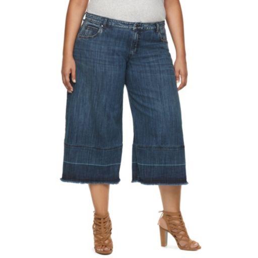 Plus Size Jennifer Lopez Wide-Leg Capri Jeans