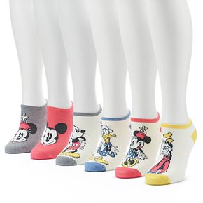 Disney's Mickey Mouse & Friends Women's 6-Pack No-Show Socks