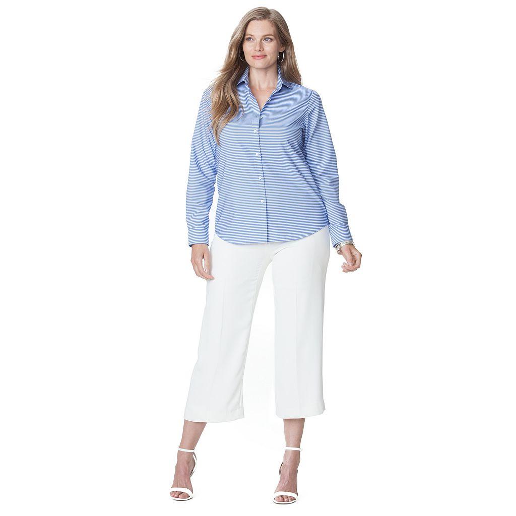 Plus Size Chaps No-Iron Striped Broadcloth Shirt