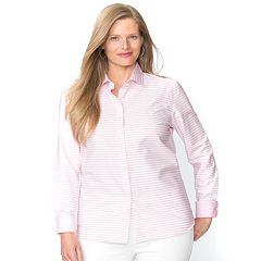 Plus Size Chaps No-Iron Striped Broadcloth Shirt