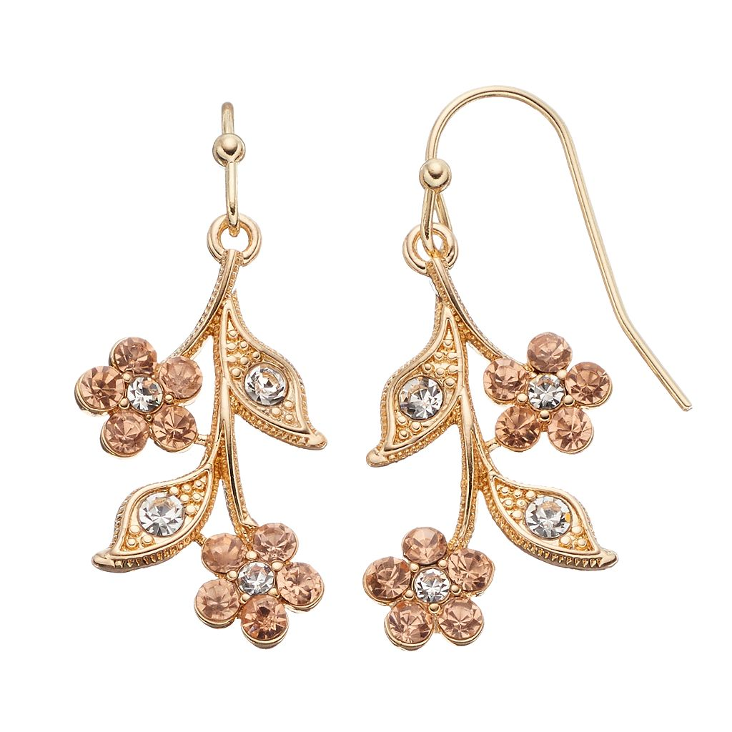 LC Lauren Conrad Floral Branch Drop Earrings