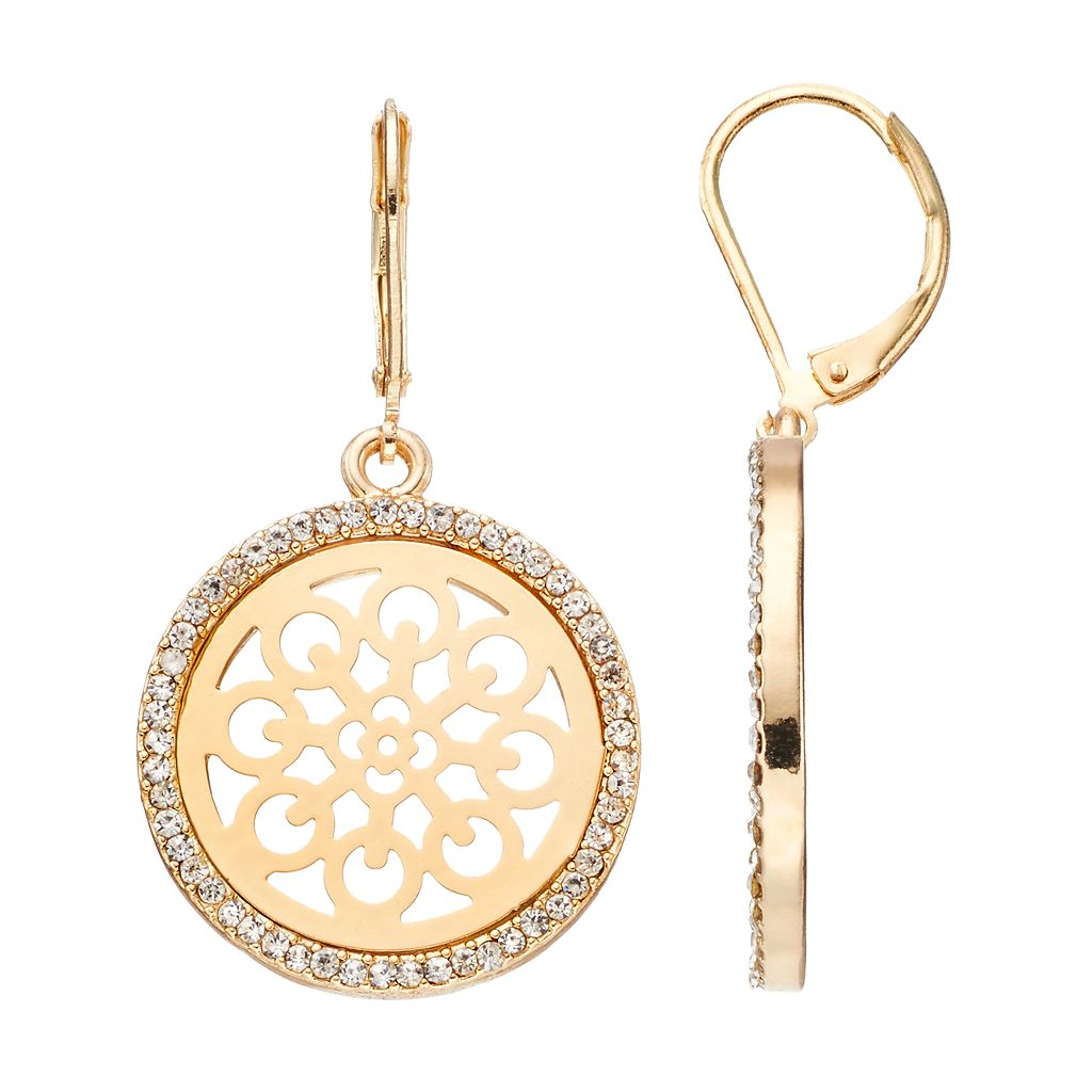 LC Lauren Conrad Openwork Disc Halo Drop Earrings