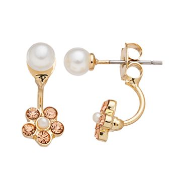 LC Lauren Conrad Simulated Pearl & Flower Front-Back Earrings