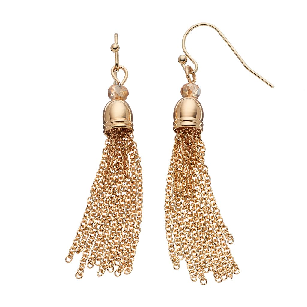 LC Lauren Conrad Beaded Tassel Drop Earrings