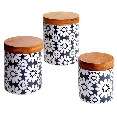 Certified International Floral & Bamboo 3-pc. Canister Set