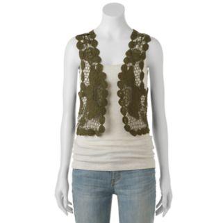 Mudd® Crochet Floral Lace Vest