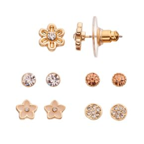 LC Lauren Conrad Simulated Crystal Flower Stud Earring Set