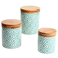 Certified International Ikat & Bamboo 3 pc Canister Set