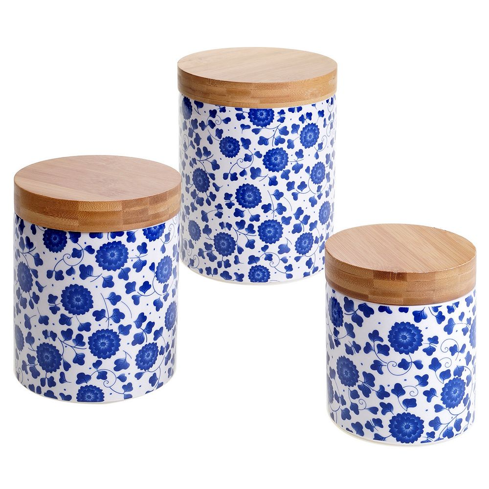 Certified International Poppy & Bamboo 3-pc. Canister Set