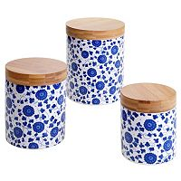 Certified International Poppy & Bamboo 3 pc Canister Set