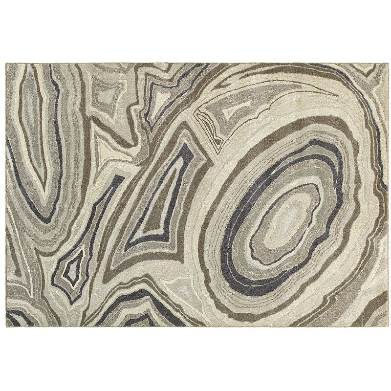 StyleHaven Riley Polished Marble Abstract Plush Rug, Beig/Green, 8X11 Ft