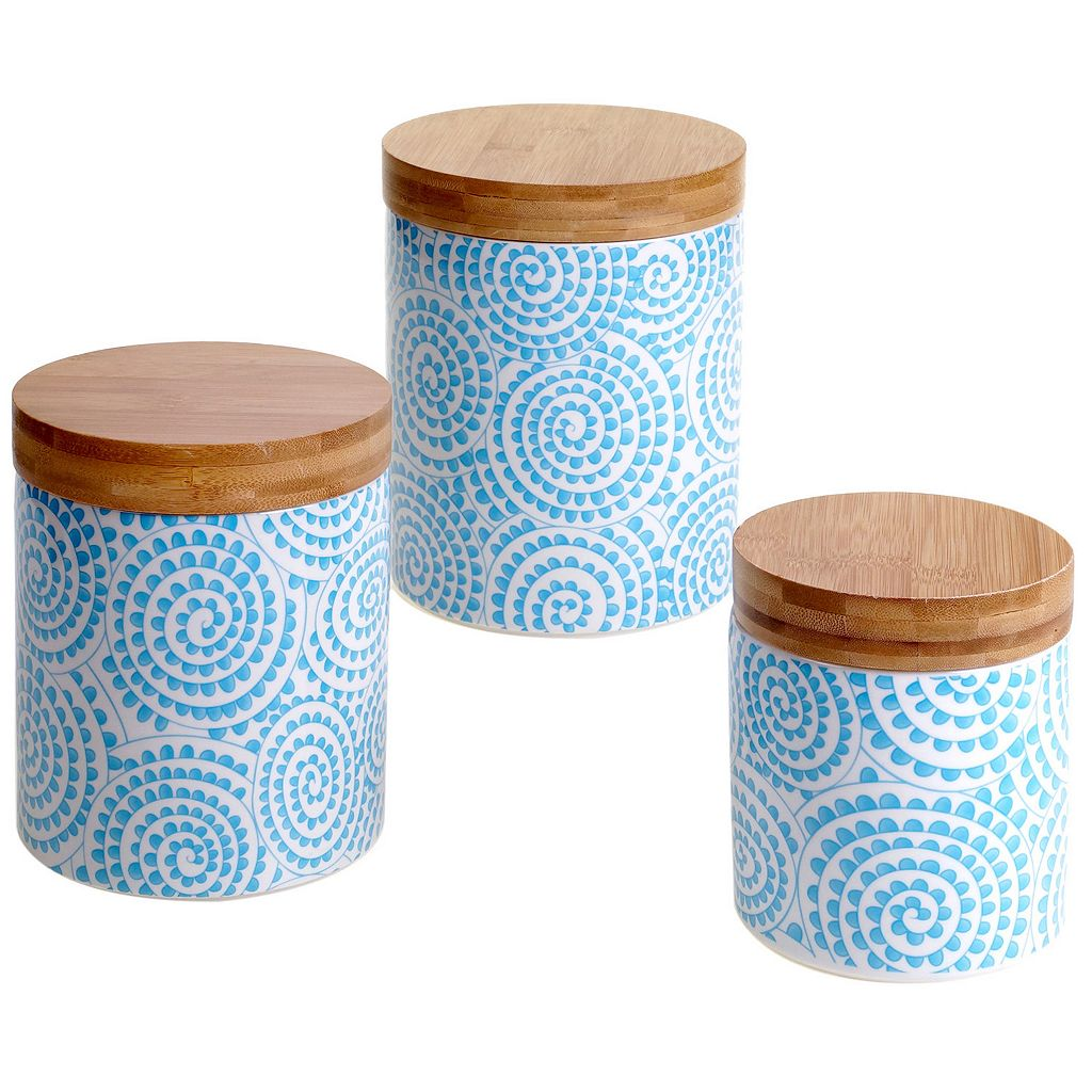 Certified International Swirl & Bamboo 3-pc. Canister Set
