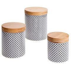 Certified International Floral Lattice & Bamboo 3 pc Canister Set