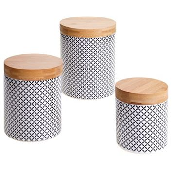 Certified International Floral Lattice & Bamboo 3-pc. Canister Set
