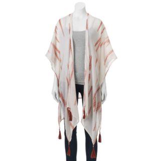 Mudd® Striped Tie-Dye Beaded Tassel Kimono