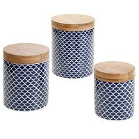 Certified International Quaterfoil & Bamboo 3 pc Canister Set