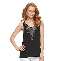Women's Apt. 9® Geometric Embroidered Tank