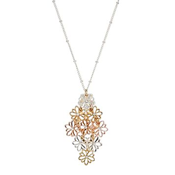 LC Lauren Conrad Long Tri Tone Flower Kite Pendant Necklace