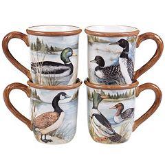 Certified International Lake Life 4 pc Mug Set