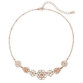 LC Lauren Conrad Openwork Flower & Teardrop Necklace