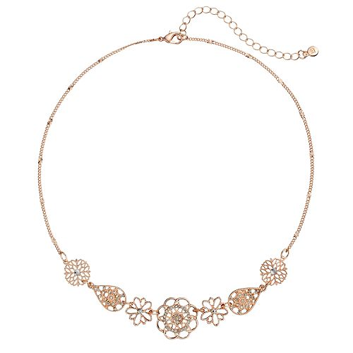 LC Lauren Conrad Openwork Flower & Teardrop Necklace