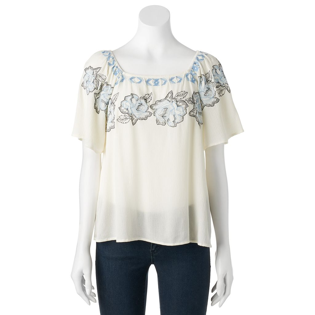 Juniors' Cloud Chaser Embroidered Squareneck Top