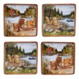 Certified International Lake Life 4 pc Canape Plate Set