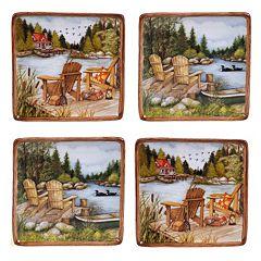 Certified International Lake Life 4 pc Canape Plate Set
