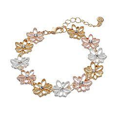 LC Lauren Conrad Tri Tone Textured Flower Bracelet