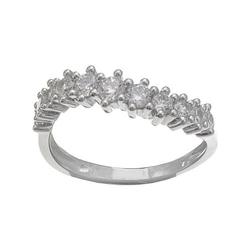 PRIMROSE Sterling Silver Cubic Zirconia Curve Ring