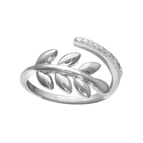 PRIMROSE Sterling Silver Cubic Zirconia Vine Bypass Ring