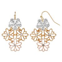 LC Lauren Conrad Tri Tone Flower Kite Earrings