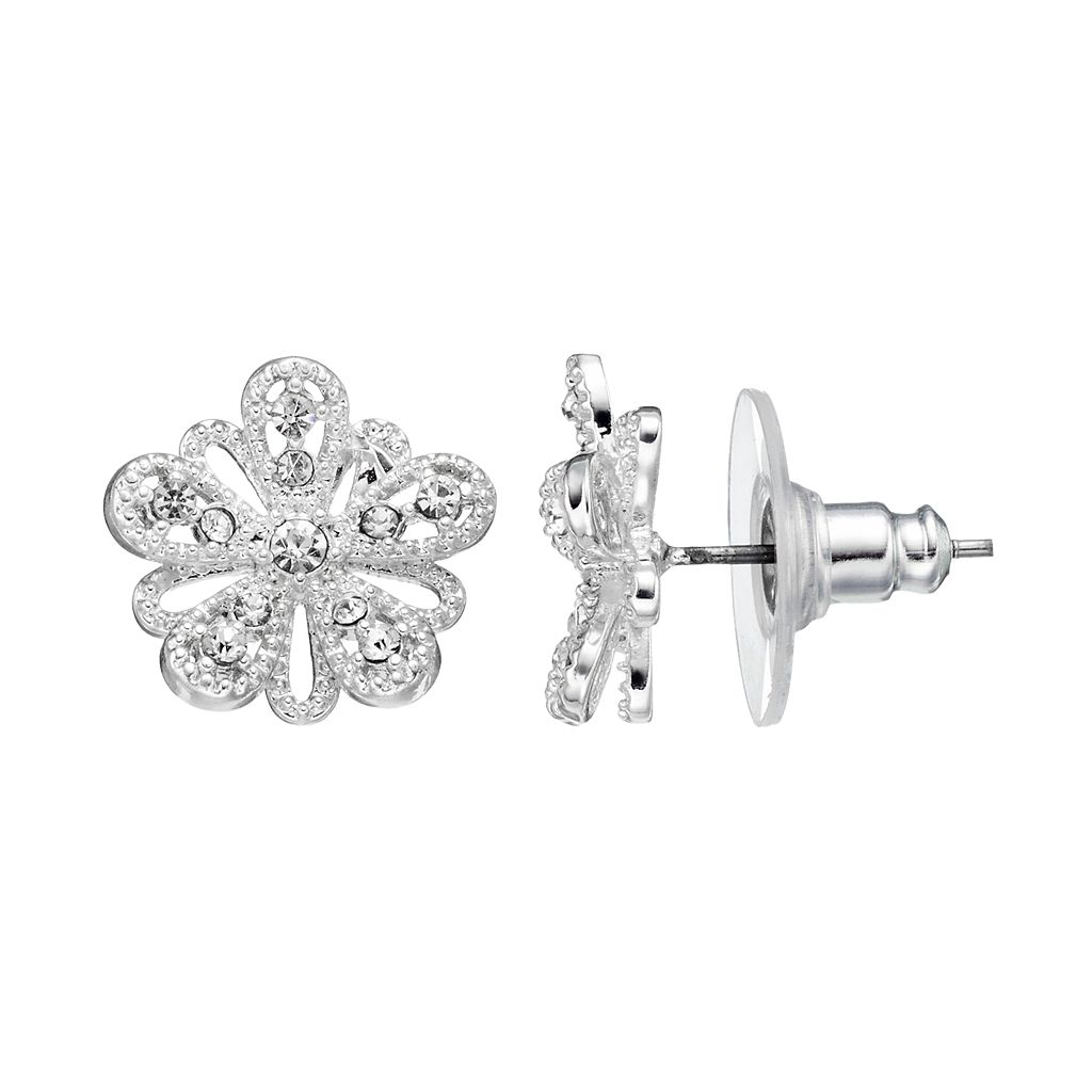 LC Lauren Conrad Silver-Tone Textured Flower Stud Earrings