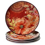 Certified International Watercolor Poppies 4 pc Dinner Plate Set